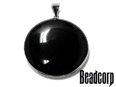 BLACK STONE ROUND PENDANT 40MM