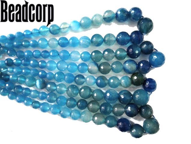 COLORED AGATE BLUE FACETED GRADUATED BEADS 6-16MM