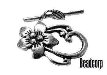 30x20mm Silver Flower Base Metal Toggle Clasp