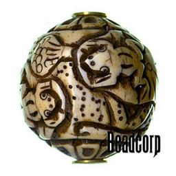 29x27mm Bone Focal Bead (Frogs)