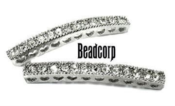 38mm Bead-Throughs Bar w/ Crystals - Silver