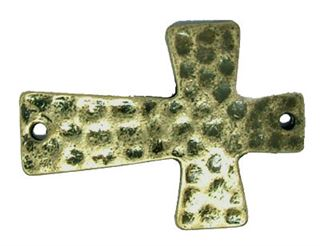 38x28mm Bead-Bar Hammered Cross - Bronze