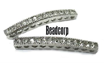 38mm Bead-Throughs Bar w/ Crystals - Rhodium