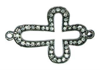 44x28mm Bead-Bar Open Cross - Gun Metal