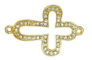44x28mm Bead-Bar Open Cross - Gold