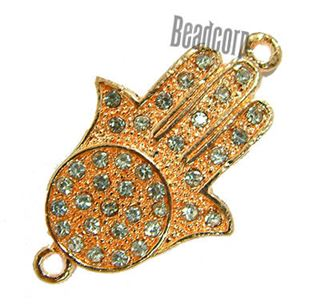 20x33mm Hamsa Hand Bracelet Bar Connector with Rhinestones - Rose Plated
