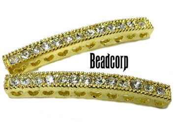 38mm Bead-Throughs Bar w/ Crystals - Gold