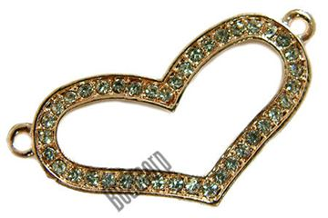 36x20mm Open Heart Bead Bar Open - Rose Plated