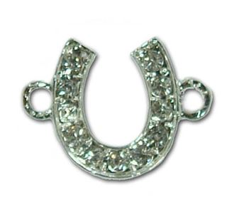 18x14mm Horse Shoe Rhinestone Bead Bar Connector - Silver Plated