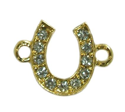 18x14mm Horse Shoe Rhinestone Bead Bar Connector - Gold Plated