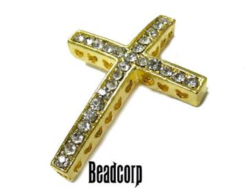 25x35mm Bead-Throughs Cross w/ Crystals - Gold