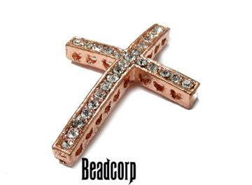 25x35mm Bead-Throughs Cross w/ Crystals - Rose Gold