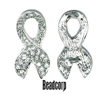 33x18mm Awareness Ribbon Double Loops (Silver)