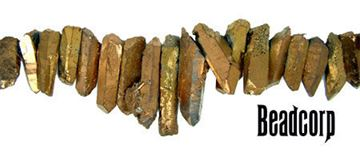 15-30mm Bronze Coated Crystal Quartz Stick Beads