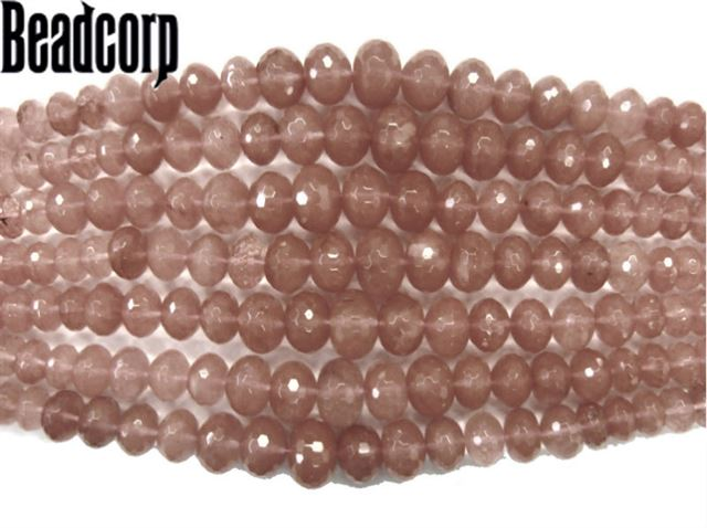 CHERRY QUARTZ FACETED GRADUATED RONDELL 8-18MM