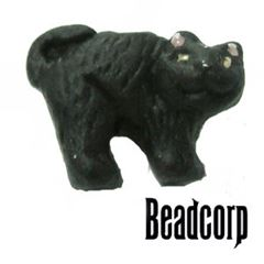 8mm Ceramic Black Cat Bead