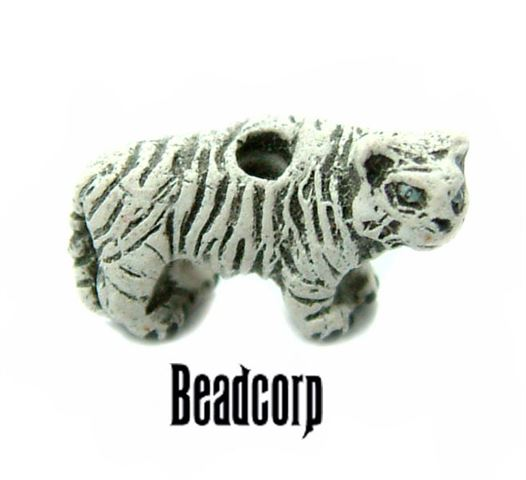 Ceramic White Tiger Beads 14mm