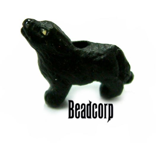 Ceramic Howling Wolf Beads 14mm