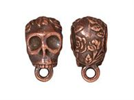 Tierracast - 13.5x8.8mm Floral Skull Copper Bail with Loop