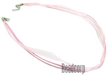 Pink Chiffon Ribbon Necklace Cords - 16-18