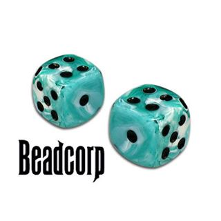 Sea Green Marbleized Dice Beads