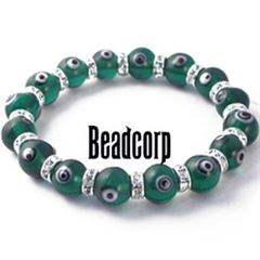 10mm Green Evil Eye Bead Bracelets with Crystal Roundels