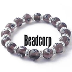 10mm Purple Evil Eye Bead Bracelets with Crystal Roundels
