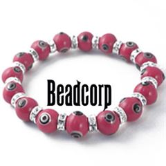 10mm Red Evil Eye Bead Bracelets with Crystal Roundels