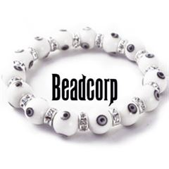 10mm White Evil Eye Bead Bracelets with Crystal Roundels