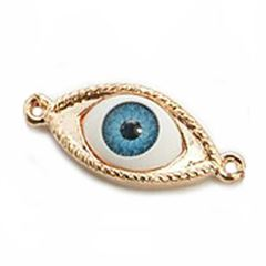 30x13mm Evil Eye Link Connector - Rose Plated