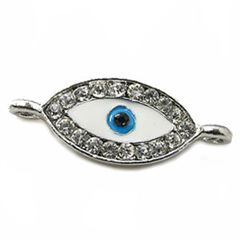 28x12mm Evil Eye Link Connector - Silver Plated