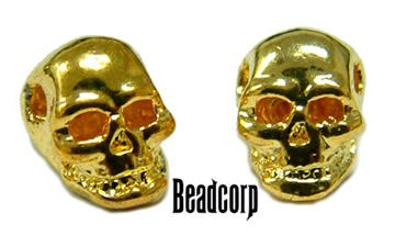5.5mm Gold Plated Mini Skull Beads - 10 pcs.