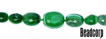 15-30mm Green Agate Faceted Graduated Barrel Beads 16