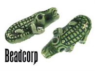 Green Ceramic Gator Beads 9x18mm