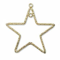 24mm Gold Filled Textured Star Focal Charm