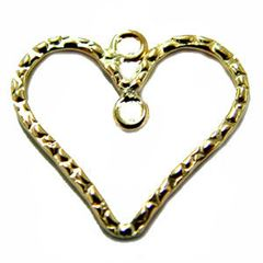 25mm Gold Filled Textured Heart Charm Component