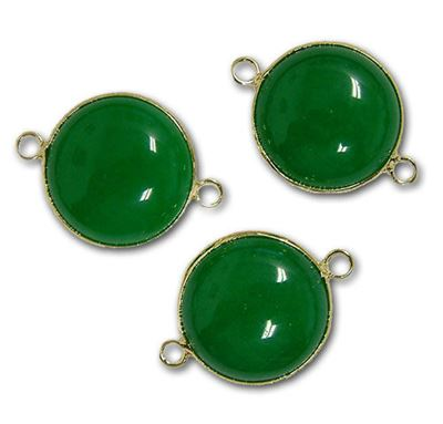 25mm Green Agate 2-Hole Gold Plated Connector
