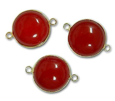 25mm Red Agate 2-Hole Gold Plated Connector