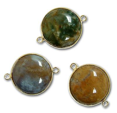 18mm Fancy Jasper 2-Hole Gold Plated Connector