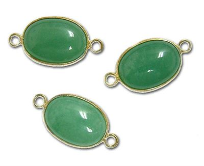 18x25mm Green Aventurine 2-Hole Gold Plated Connector