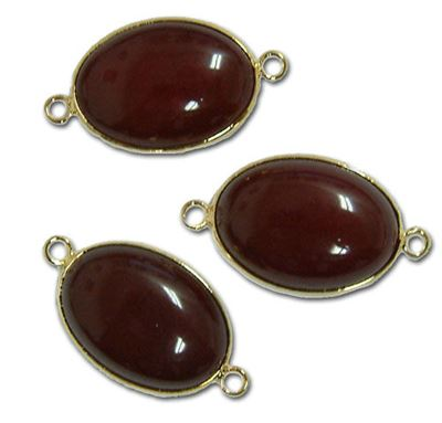 18x25mm Deep Red Jade 2-Hole Gold Plated Connector