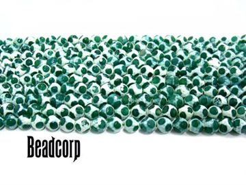 8mm Green / White Leopard Agate Faceted Beads 16