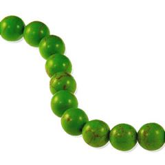 10mm Green Dyed Howlite Round Beads (magnesite)