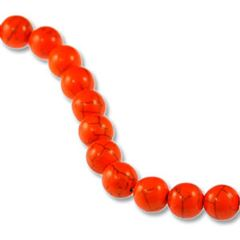10mm Orange Dyed Howlite Round Beads (magnesite)