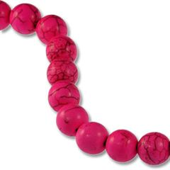 10mm Pink Dyed Howlite Round Beads (magnesite)