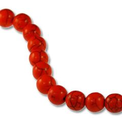 10mm Red Dyed Howlite Round Beads (magnesite)