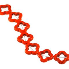 20x20mm Orange Dyed Howlite Open Blossom Beads (magnesite)