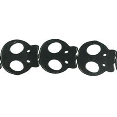 20x22mm Black Dyed Howlite Flat Skull Beads (magnesite)