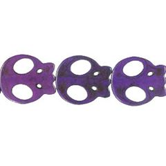 20x22mm Purple Dyed Howlite Flat Skull Beads (magnesite)