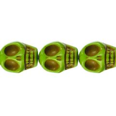 10x12mm Green Dyed Howlite Skull Beads (magnesite)